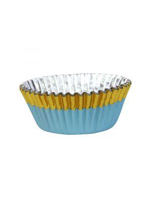 Vaaleansiniset folioidut PME:n muffinssivuoat kultaisella reunalla, 30 kpl.