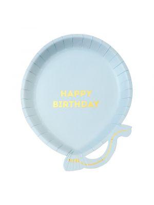 """Hennon vaaleansiniset ilmapallon muotoiset kertakäyttölautaset, tekstillä """"Happy Birthday""""."""