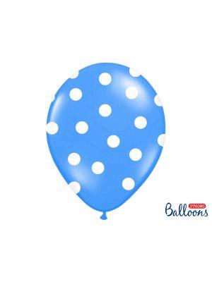 Siniset ilmapallot isoilla valkoisilla pilkuilla- 30cm, 6kpl