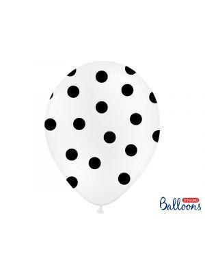 Valkoiset ilmapallot isoilla mustilla pilkuilla - 30cm, 6 kpl.