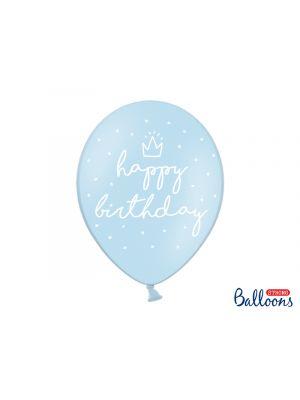 """Vaaleansiniset ilmapallot tekstillä """"happy birthday"""" - 30cm, 6 kpl."""