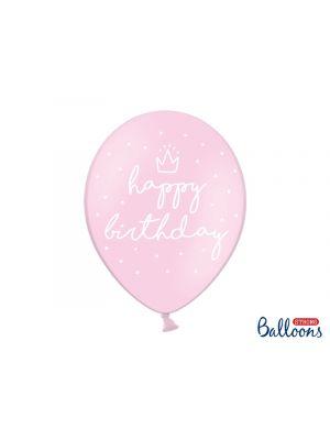 """Vaaleanpunaiset ilmapallot tekstillä """"happy birthday"""" - 30cm, 6 kpl."""