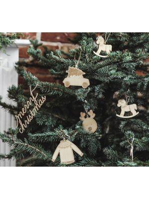 Puiset ripustettavat joulukoristeet.