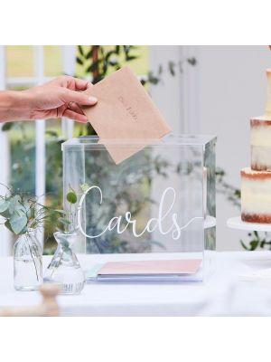 """Läpinäkyvä korttilaatikko tekstillä """"Cards"""""""