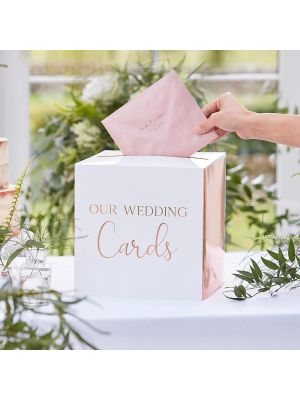 "Korttilaatikko häihin, ""Our Wedding Cards""."
