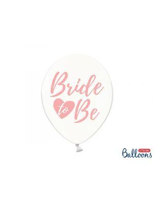 Läpinäkyvät ilmapallot joissa vaaleanpunaisella tekstillä Bride to Be