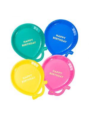Ilmapallo lautaset, Happy Birthday, Mix, 12kpl