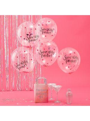"""Hauskat konfetti-ilmapallot polttareihin, tekstillä """"Same Willy Forever""""."""