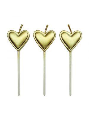 Kultaiset, metallinhohtoiset, sydämenmuotoiset kakkukynttilät, 8 kpl.