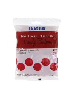 PME Natural Candy Buttons Red - Punaiset luonnolliset suklaanapit, 200g.