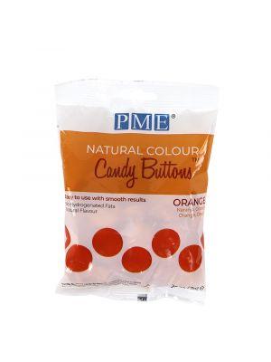 PME Natural Candy Buttons Orange - Oranssinväriset luonnolliset suklaanapit, 200g.
