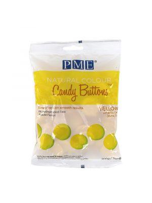 PME Natural Candy Buttons Yellow - Keltaiset luonnolliset suklaanapit, 200g.