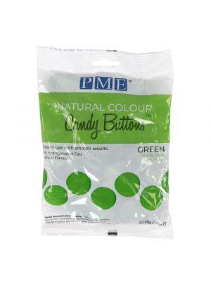 PME Natural Candy Buttons Green - Vihreät luonnolliset sokerinapit, 200g.