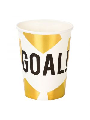 """Kulta-valkoiset kertakäyttöiset jalkapallomukit tekstillä """"GOAL!"""", 12 kpl."""