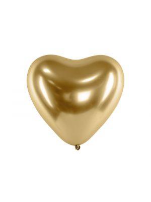 Upeat kiiltävät chrome sydämenmuotoiset ilmapallot, 50 kpl.