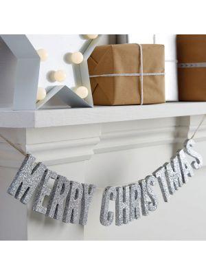 Joulukoriste Merry Christmas Banneri, Hopea-Glitter