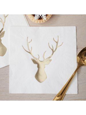 Joulu-lautasliinat, kulta-metallinhohtoisella poron kuvalla, 20 kpl.