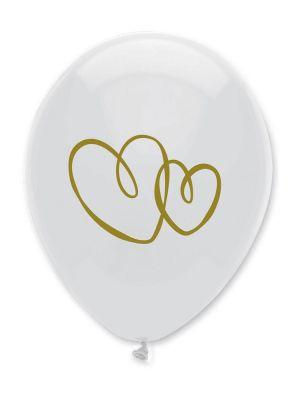 Valkoiset ilmapallot, sydänkuviolla, 10 kpl.