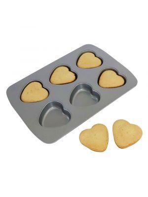 PME:n muffinipelti non-stick pinnoitteella sydämuotoisille muffineille, 6 kpl.