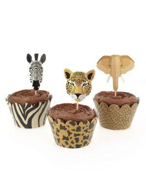 Cupcake-setti, Villit eläimet Safari, 6 kpl.