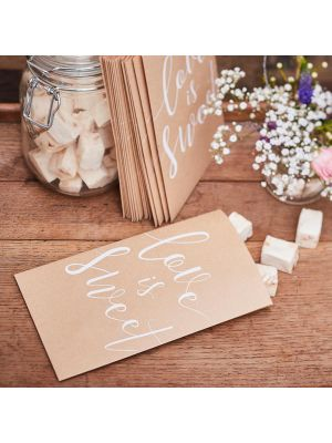 """Luonnonruskeat pienet paperipussit, valkoisella tekstillä """"love is sweet"""", 20 kpl."""