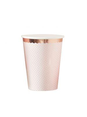 Hennon vaaleanpunaiset ja ruusukultaiset pahvimukit, 8 kpl.