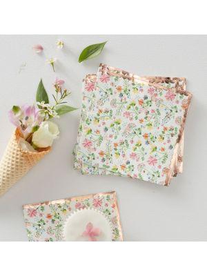 Kesäiset kukkakuvioidut servetit, 16 kpl.