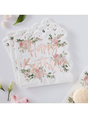"""Ihanat kukalliset lautasliinat jossa lukee ruusukullanvärisellä tekstillä """"Happy Birthday"""", 16 kpl. Ditsy Floral juhlateema."""