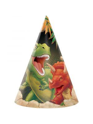 Dinosaurus juhlahatut kuminauhalla.