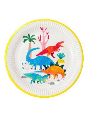Dinosaurus-aiheiset pahvilautaset dinosaurus synttäreihin, 8 kpl.