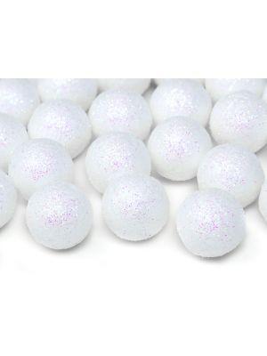 Valkoiset kimaltelevat koristepallot, 25 kpl.