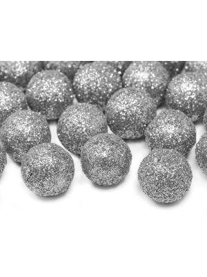 Hopeiset kimaltelevat koristepallot, 25 kpl.