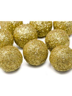 Kimaltelevat koristepallot, kulta-glitter, 9 kpl.
