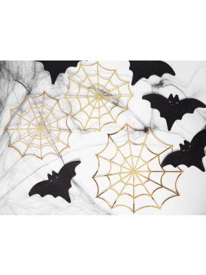 Kultaiset hämähäkinverkot, halloween paperikoristeet.