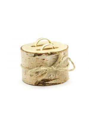 Aidosta puusta tehty sormustyyny, jossa tilaa kahdelle sormuksille.