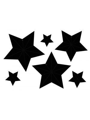 Mustat kartonki tähdet, 6 kpl.