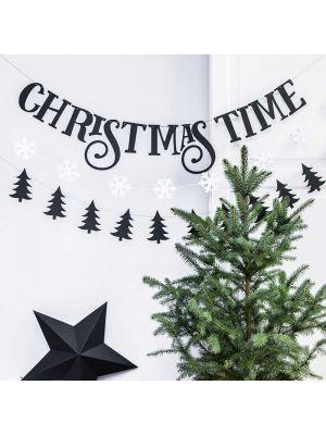 Musta joulubanneri, Christmas Time, 80cm