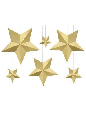 Kultaiset kartonki tähdet, 6kpl
