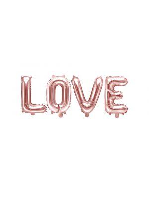 """Ruusukultaiset foliopallokirjaimet """"LOVE""""."""