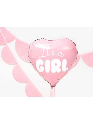 """Vaaleanpunainen sydänmuotoinen foliopallo, """"It´s a girl"""", 45 cm."""