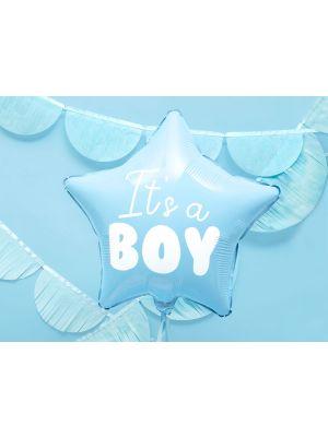 """Vaaleansininen tähti foliopallo """"It´s a boy"""", halkaisija 48 cm."""