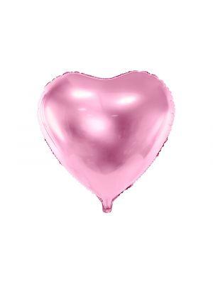 Vaaleanpunainen sydänmuotoinen foliopallo. Koko noin 61 cm.