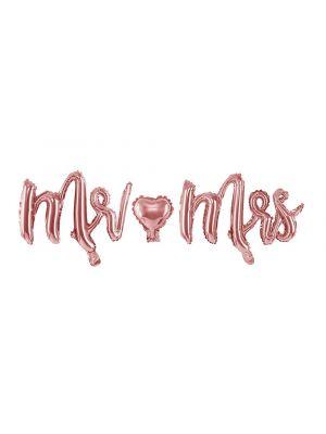 """Ruusukullanvärinen foliopallo joka koostuu kolmesta irrallisista osista: Mr, """"sydän"""" ja Mrs."""