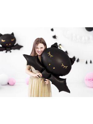 Musta lepakonmuotoinen foliopallo. Halloween.