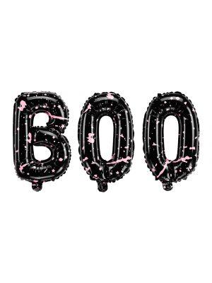 Mustat foliopallo kirjaimet joissa on vaaleanpunaiset yksityiskohdat, BOO. Halloween.