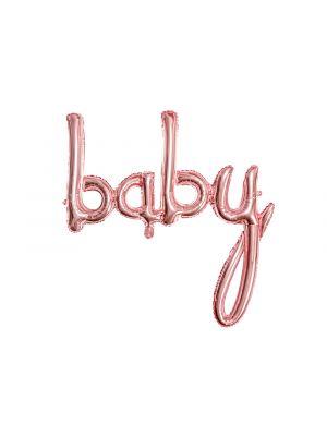 """Ruusukullanvärinen foliopallo """"baby""""."""