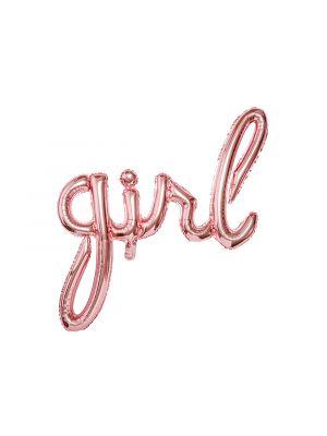 """Ruusukullanvärinen foliopallo """"girl""""."""