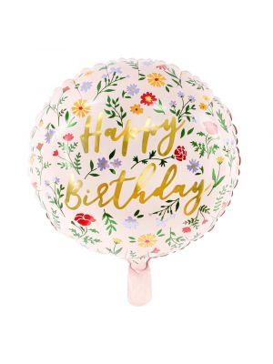 Pyöreä Foliopallo, Happy Birthday, Kukat, 35cm