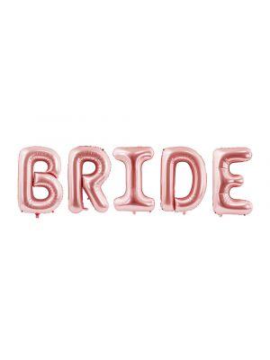Isot ruusukultaiset foliopallokirjaimet, BRIDE.