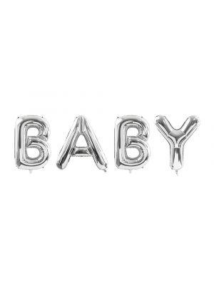 """Hopeiset foliopallokirjaimet """"BABY""""."""